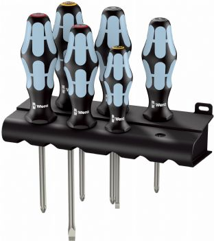 Wera 05032063001 3334/3350/3355/6 6 Piece Kraftform Stainless Screwdriver Set SL/PH/PZ